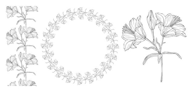 Gráficos vectoriales de una composición floral.