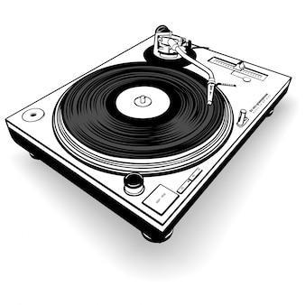 Gramófono dj blanco y negro