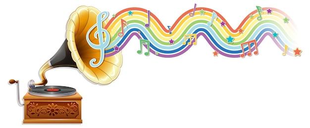 Gramófono con símbolos de melodía en la onda del arco iris