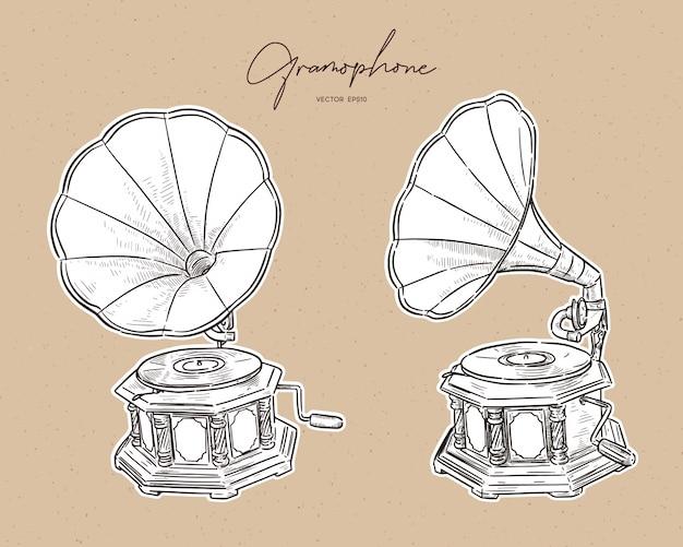 Gramófono-vintage dibujado a mano