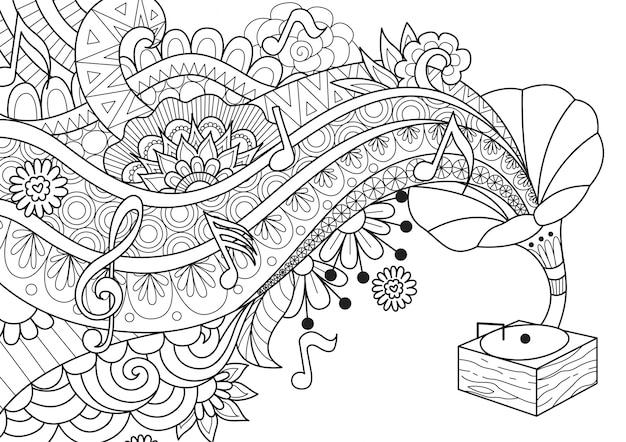 Gramola musical dibujada a mano