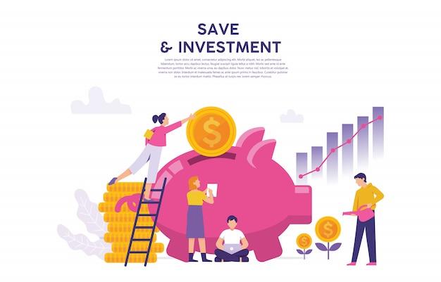Un gran ahorro porcino como concepto de ahorro e inversión empresarial