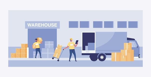 Gran almacén con vehículos de transporte camión grande. ilustración vectorial