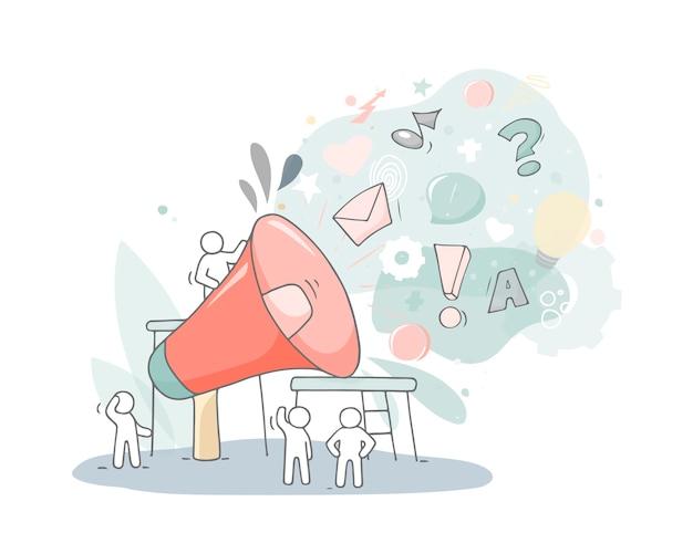 Gran altavoz con gente trabajadora. doodle linda miniatura sobre negocios y trabajo en equipo. ilustración de vector de dibujos animados dibujados a mano.