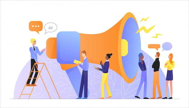 Gran altavoz megáfono hablando con multitud de personas personajes publicidad concepto de empresa de marketing. anuncio, comunicación empresarial, promoción, marketing publicitario.