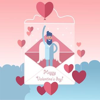 Gran ángel barbudo de alas blancas con globo en forma de corazón de san valentín