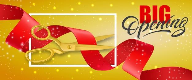 Gran apertura banner brillante con marco y tijeras de oro cortando cinta roja