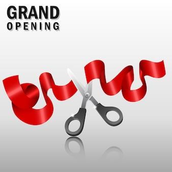 Gran apertura con cinta roja y tijeras