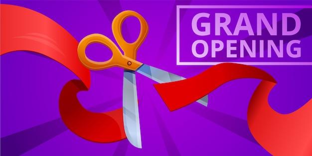 Gran apertura concepto banner, estilo de dibujos animados