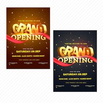Gran apertura folleto o tarjeta de invitación en dos colores opción marrón y negro.