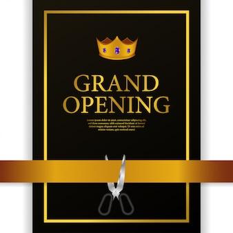 Gran apertura de lujo corona de oro corte de cinta