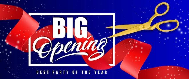 Gran apertura, mejor fiesta del año bandera brillante con marco, tijeras de oro