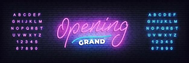 Gran apertura de plantilla de neón. banner de letras de neón gran inauguración para evento, venta, promoción