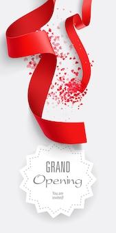 Gran apertura. se te invita a poner letras con cintas rojas.