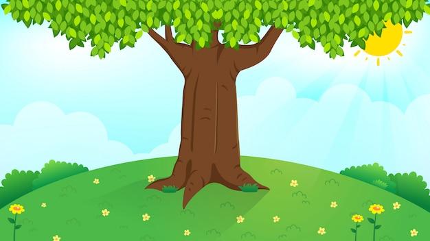 Gran árbol en la luz del día brillante