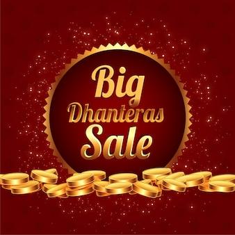 Gran banner de festival de venta de dhanteras con monedas de oro