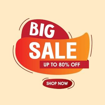 Gran banner de venta. venta y descuento vector