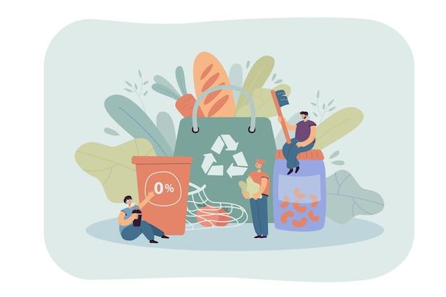 Gran bolsa de compras sostenible y personas pequeñas que protegen el medio ambiente, pensando en el futuro.