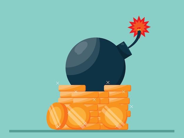 Gran bomba en la pila de monedas, ilustración de crisis económica plana