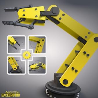 Gran brazo de robot amarillo 3d en la composición de fabricación y cuatro iconos con un gran aumento en las piezas de la máquina