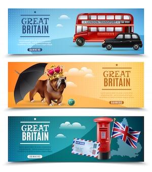 Gran bretaña banners horizontales de viaje