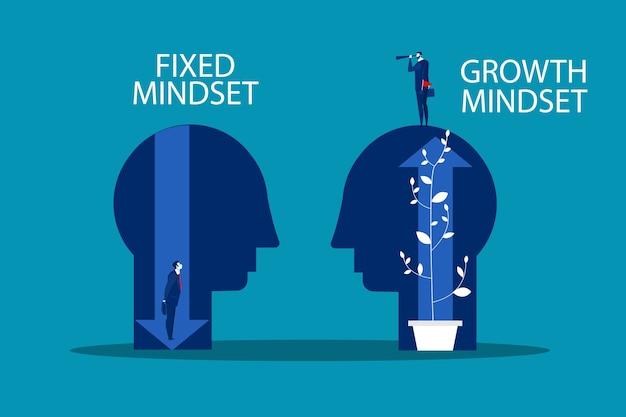 Gran cabeza humana piensa en crecimiento mentalidad diferente mentalidad fija