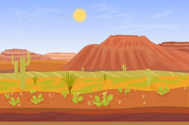 Gran cañón con rocas y cactus.