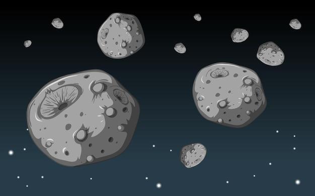 Una gran cantidad de meteoritos de piedra en el fondo de la galaxia.