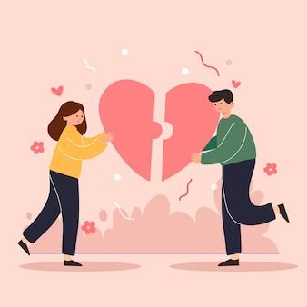 Gran caricatura aislada de niña y niño enamorados, pareja compartiendo y amor cariñoso, ilustración 3d
