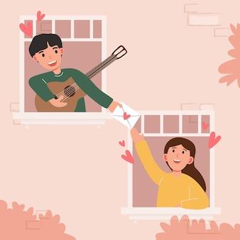 Gran caricatura aislada de niña y niño enamorados, pareja compartiendo y amor cariñoso, tocando la guitarra ilustración 3d