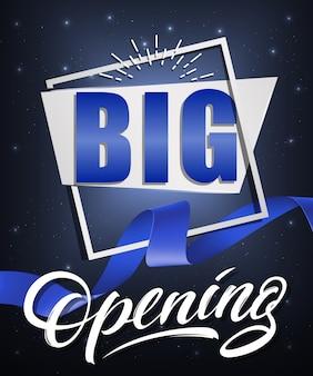 Gran cartel festivo de apertura con marco blanco y cinta azul agitó