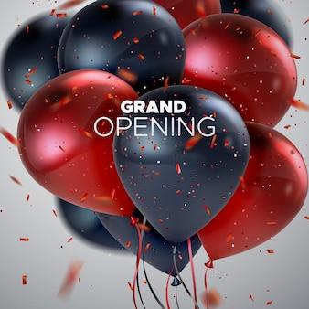 Gran cartel de inauguración con montón de globos y confeti
