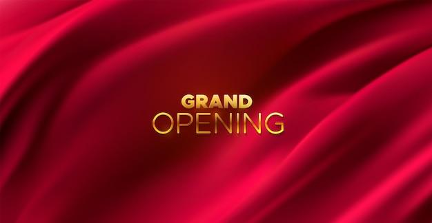 Gran cartel de oro de inauguración en tela roja