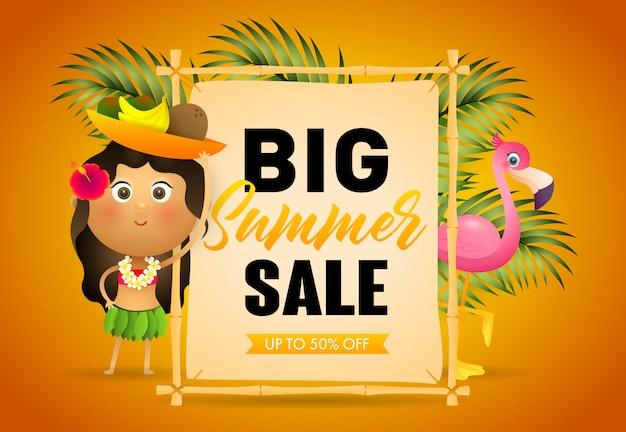 Gran cartel de venta de venta de verano. letrero
