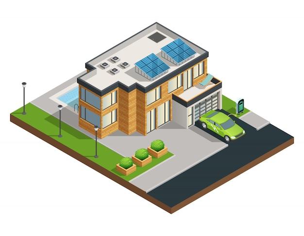Gran casa ecológica verde moderna con paneles solares en el techo, hermoso patio de garaje ordenado y piscina.