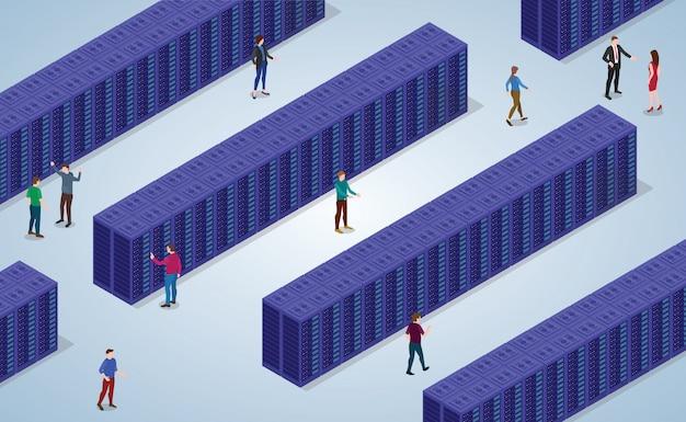 Gran centro de datos con muchos bloques de sala de servidores con plano isométrico moderno