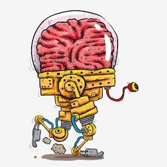 Gran cerebro cubierto de robot con cabeza de vidrio con dibujo de mano de tentáculo un ojo