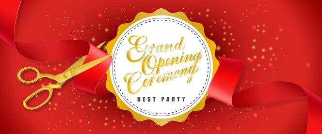 Gran ceremonia de apertura, la mejor bandera roja de la fiesta con texto en círculo blanco y tijeras de oro