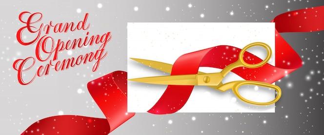 Gran ceremonia de inauguración espumoso banner con tarjeta vacía y tijeras de oro