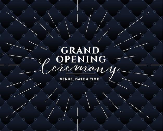 Gran ceremonia de inauguración de diseño negro.