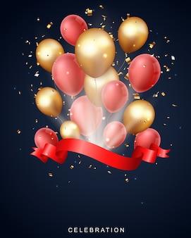 Gran ceremonia de inauguración con globo rojo dorado y confeti.