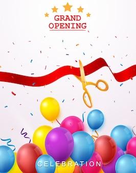 Gran ceremonia de inauguración con globos de colores y confeti.