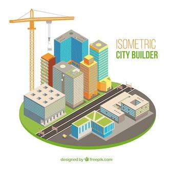 Gran ciudad con grúa en estilo isométrico