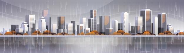 Gran ciudad moderna edificio rascacielos vista panorámica temporada de lluvias