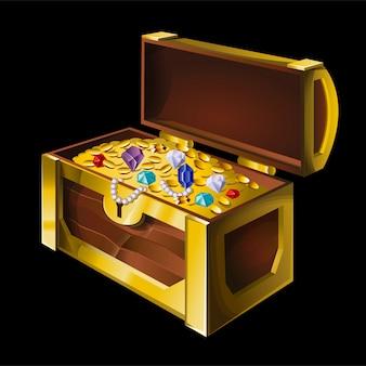 Gran cofre antiguo con joyas, monedas de oro, diamantes, piedras preciosas, tesoros brillantes.
