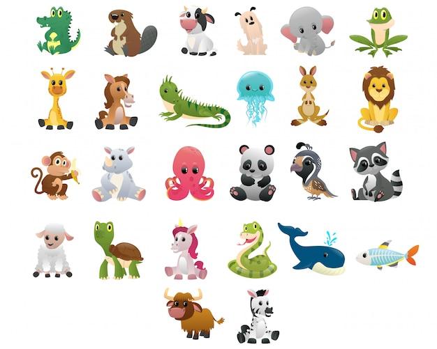 Gran colección de animales de dibujos animados de estilo