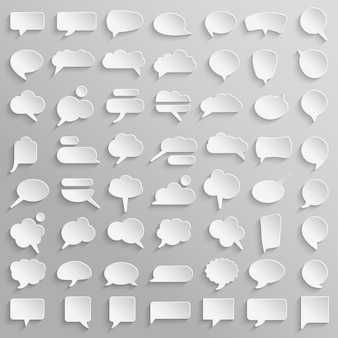 Gran colección de burbujas de discurso de papel blanco
