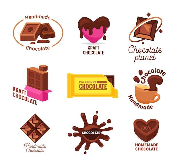 Gran colección de caramelos de chocolate hechos a mano y caseros de kraft y logotipo de bebida.