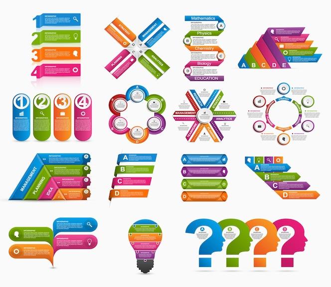 Gran colección de infografías coloridas.