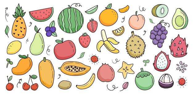 Gran colección de dibujos animados de frutas